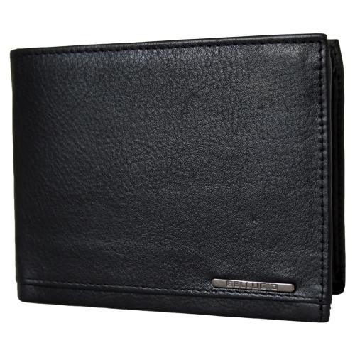 68c1d240b85d8 Czarny portfel męski ze skóry naturalnej z RFID marki Bellugio