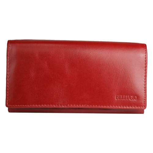 66deb66132687 Damski portfel ze skóry naturalnej poziomy marki Bellugio