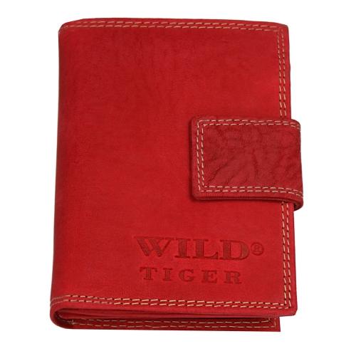 7b227ff4db968 Czerwony portfel damski ze skóry nubuk Wild Tiger