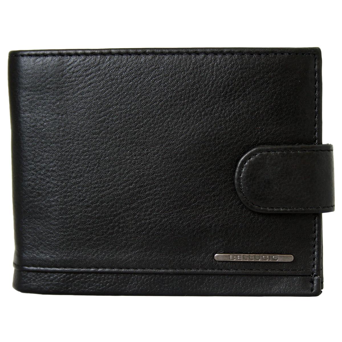 e4e39573f2b83 Czarny portfel męski ze skóry z RFID marki Bellugio