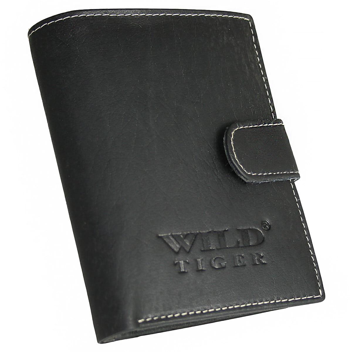 55b81eeecd8c5 Pionowy portfel męski z zapięciem Wild Tiger