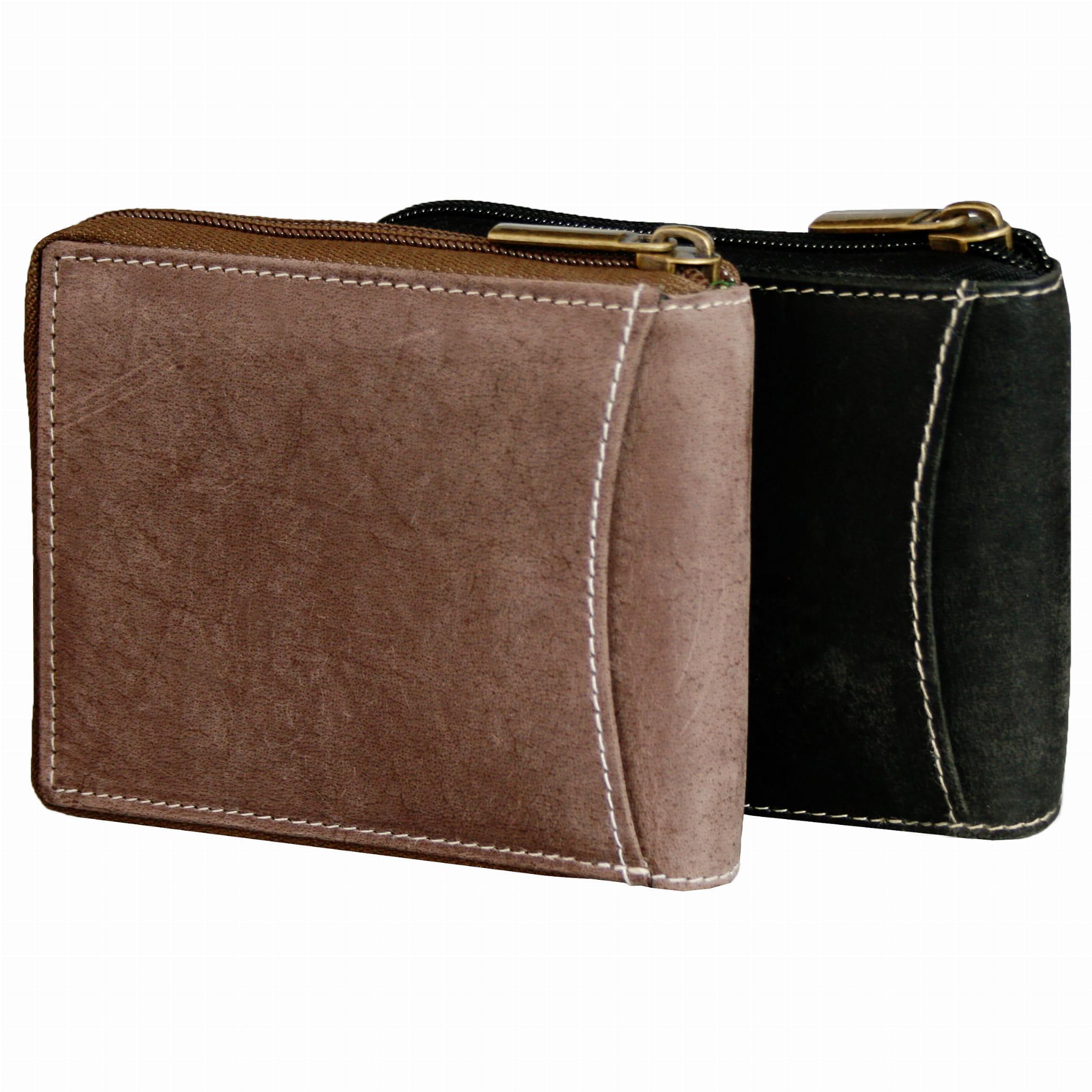 Skórzany portfel męski miękki zapinany poziomy